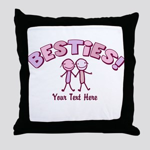 CUSTOM TEXT Besties (pink) Throw Pillow